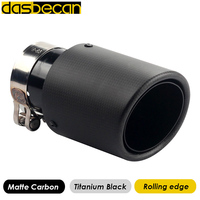 Desbecan matte Carbon Rolling edge Titanium Black Car tail pipes Nozzle on Muffler model of akrapovic exhaust And Universal