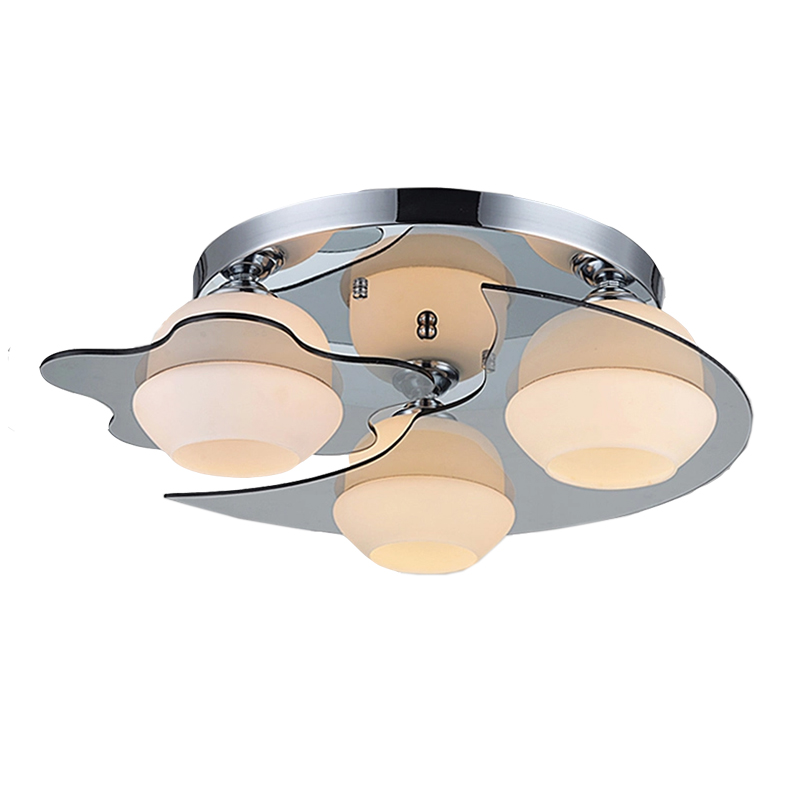 Ecolight Modern Ceiling Light E26 E27 3 Lights Brushed Nickel Acrylic Glass Flush Mount for Living