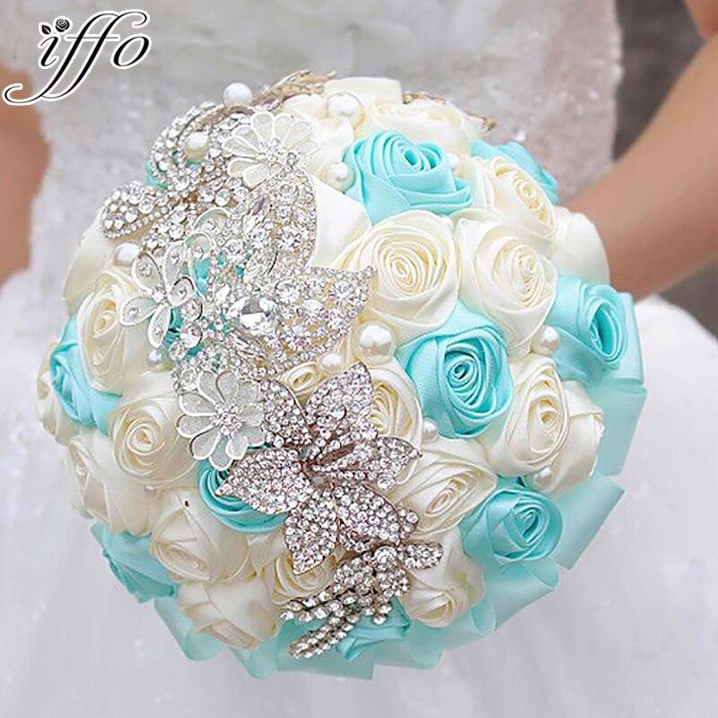 8 дюймов синий и бежевый Роза брошь букет ручной работы многоцветная Свадебные букеты холдинг цветы отправить жениха корсажи