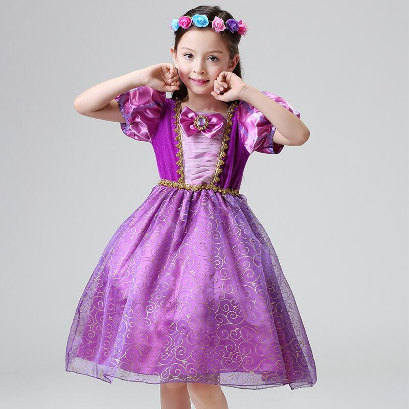Girls Princess Halloween Costume Rapunzel Tangled Cosplay Dress Kids Party Ball Gown Tutu