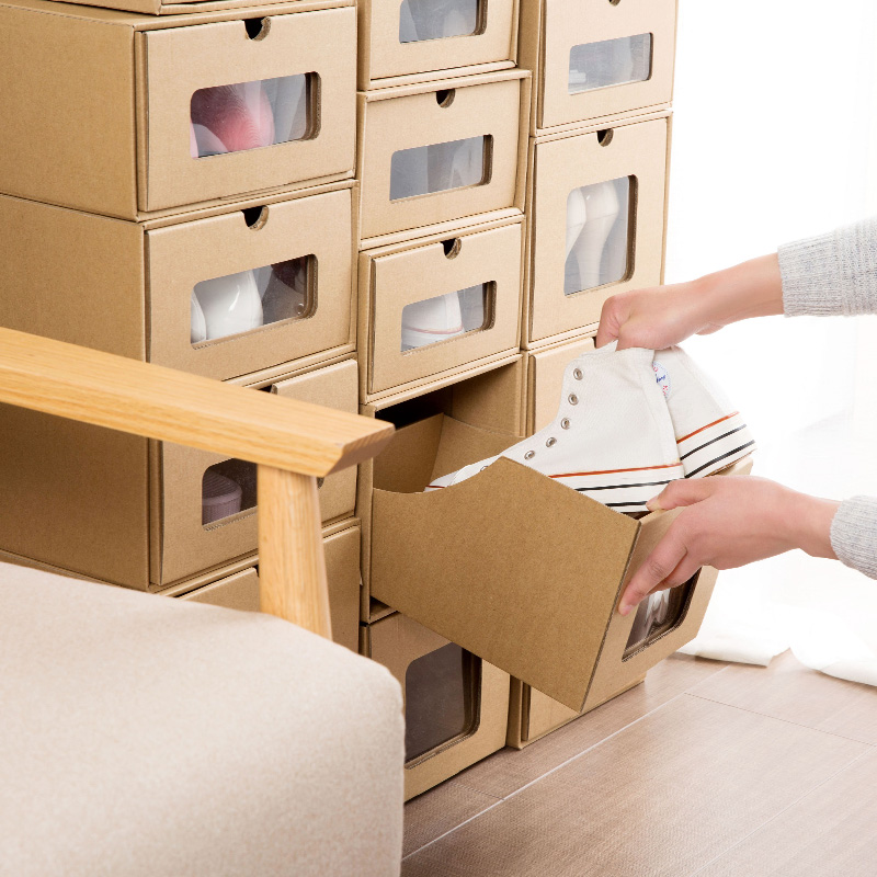 Recommend 5PCS Kraft Paper Dormitory Transparent Shoe Box Clear Plastic Simple Drawer Boots Storage Box drawer