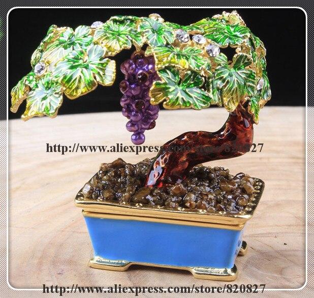 Bonsai Bordeaux Miniature Grape Vine Trinket Jewelry Keepsake Box Tree Handmade Jeweled Enameled Metal Trinket Box цена 2017