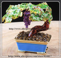 Bonsai Bordeaux Miniature Grape Vine Trinket Jewelry Keepsake Box Tree Handmade Jeweled Enameled Metal Trinket Box