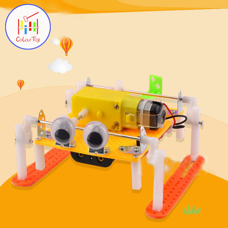Children DIY Scientific Material Experiment Robot Crawl Model Kids Physics Inventions Students Assemble Puzzle Model Toy