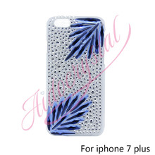 Aidocrystal New Fashion Royal blue Leaf Diamond i7 plus Covers Luxury Bling Bling Handmade Case For iPhone 7 Plus free shipping
