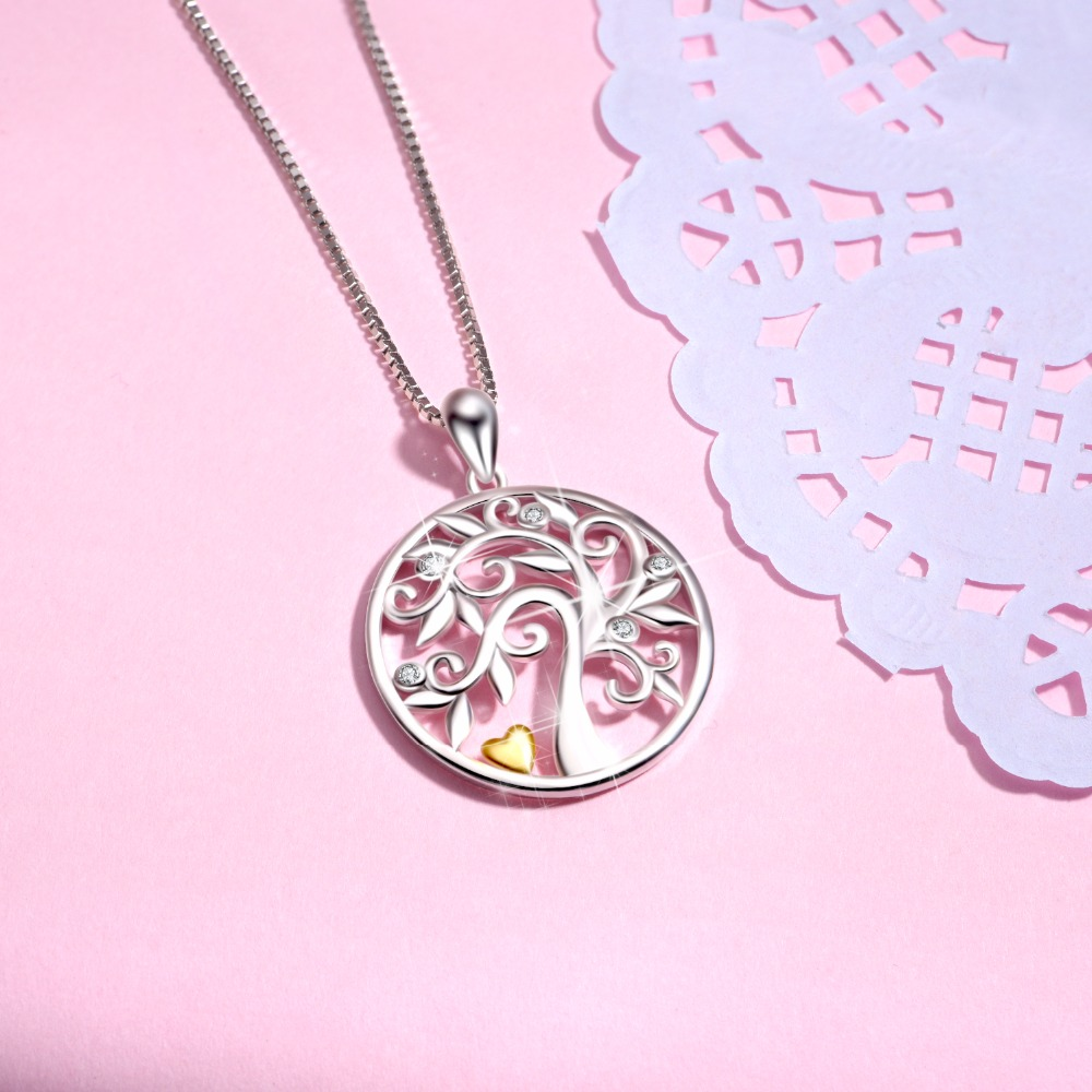 925 Sterling Silver Neckalce Tree Of Life Classic Pendants Necklaces Charming Jewelry Accessories For Women Best Gifts PYX0670 in Pendant Necklaces from Jewelry Accessories
