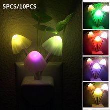 5PCS/10PCS Light Sensor Led Night Light Color Changing Plug-in LED Mushroom Dream Babyroom Bedroom Lamp Nightlight Home Decor