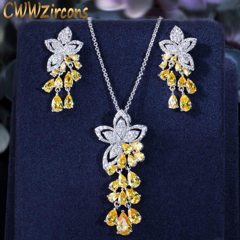 CWWZircons 2019 New Arrival Cubic Zirconia Tassel Drop Flower Earrings and Pendant Necklace Fashion Ladies Jewelry Sets T334