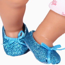 Baby Doll Shoes Blue Glitter Shoes For 43cm Doll Baby Born Zapf New Arrival Baby Doll