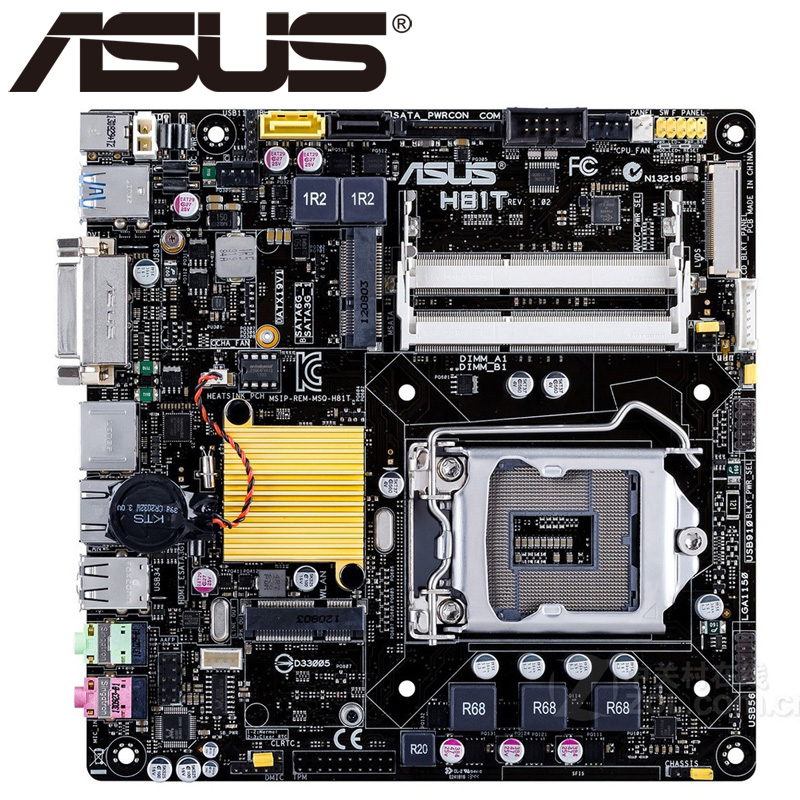 Asus H81T Desktop Motherboard H81 Socket LGA 1150 i3 i5 i7 DDR3 16G Thin Mini-ITX UEFI BIOS Original Used Mainboard Hot Sale asus p8z77 m desktop motherboard z77 socket lga 1155 i3 i5 i7 ddr3 32g uatx uefi bios original used mainboard on sale