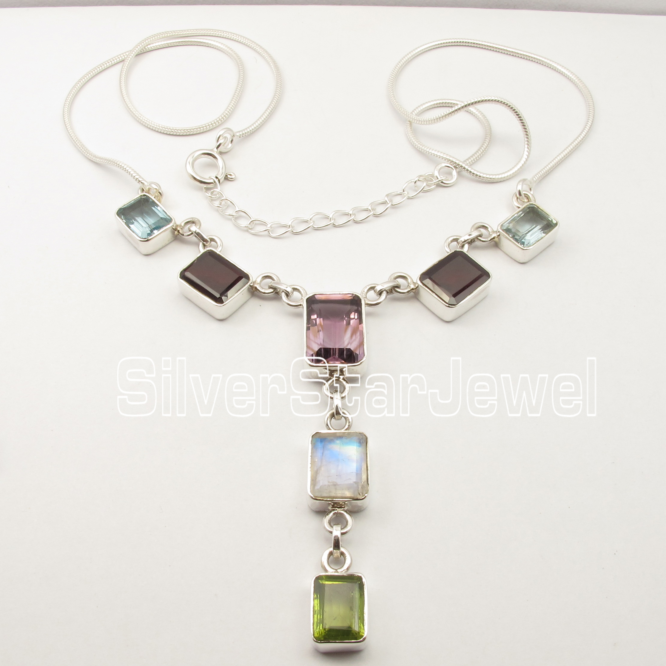 Chanti International Pure Silver Rectangle Faceted MULTI GemS URBAN STYLE Necklace 19 NEW