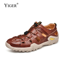YIGER new Men sandals cow leather man beach big size outdoor non-slip casual summer male leisure 0294
