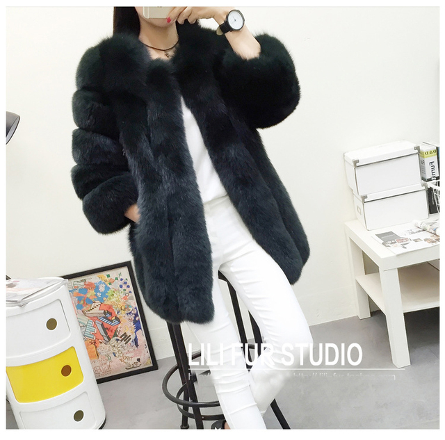 ZADORIN S-4XL Winter Luxury Faux Fox Fur Coat Slim Long Pink Red Blue Faux Fur Jacket Women Fake Fur Coats manteau fourrure 3