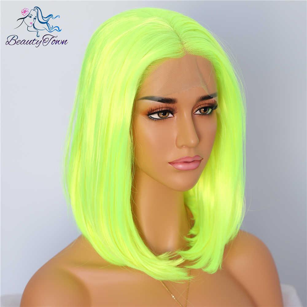 Beautytown curto neon cor amarela natural bob estilo rainha maquiagem feminino casamento festa de halloween presente sintético peruca dianteira do laço