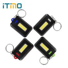 ITimo COB Torch Emergency Light Keychain Light Key Ring Lamp 3 Modes LED Flashlight For Camping Hiking(China)
