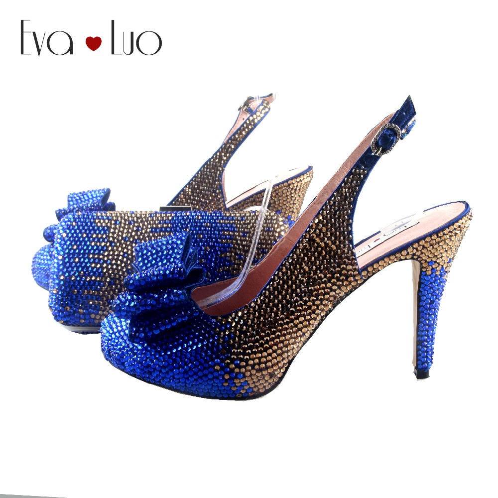 BS938 DHL Custom Made Royal Blue Gold Crystal Bow Shoes with Matching Bags Set Slingbacks Dress