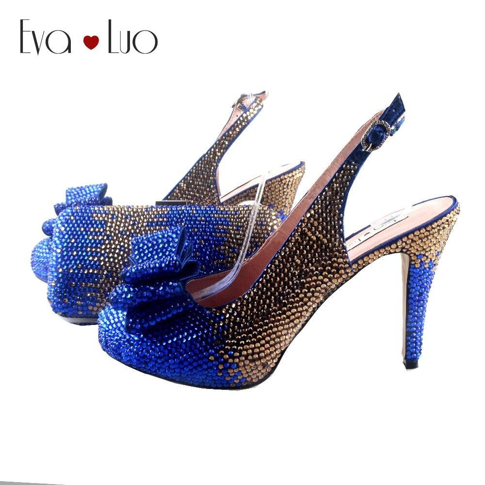 BS938 DHL hecho a medida zapatos de lazo de cristal de oro azul real con bolsas a juego conjunto de tacones de vestido de mujer Boda nupcial zapatos-in Zapatos de tacón de mujer from zapatos    1