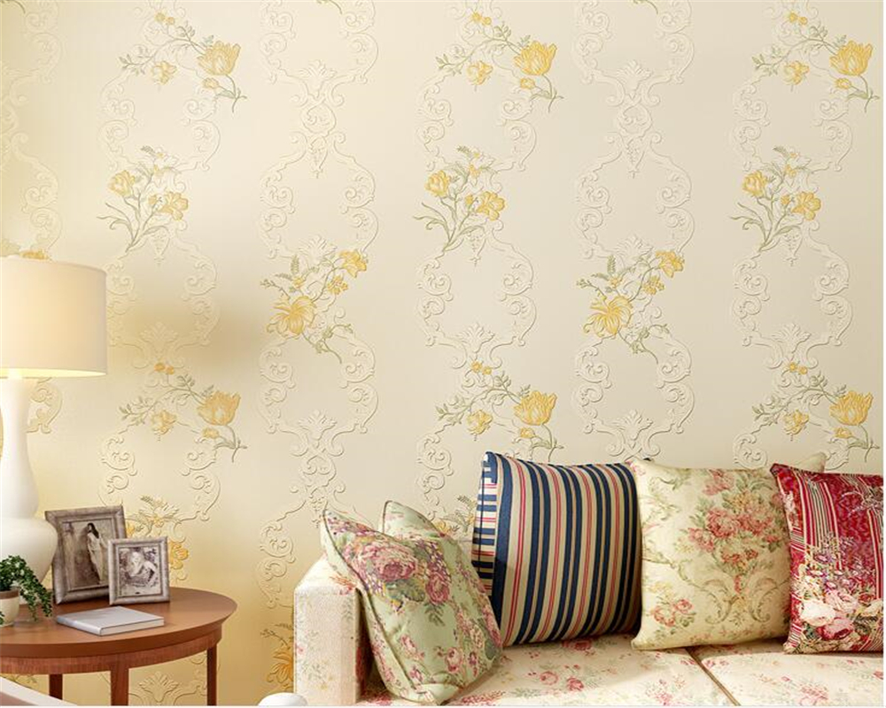Beibehang European garden style embossed flowers blue beige pink embossed 3D wallpaper home decoration wallpaper rolls mural european standard 25ft home garden flexible natural latex water pipe blue