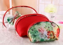 Bow PVC cosmetic bags, travel cosmetic Organizer, lovely portable storage bag set of three,women make up bags
