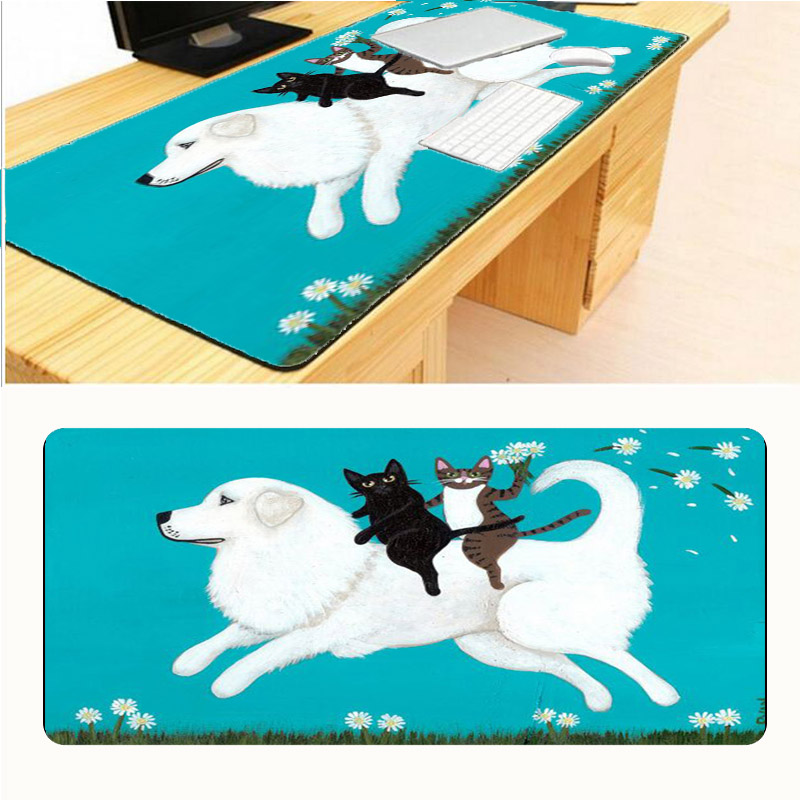 Mairuige900*400*2mm Cute Cat Riding Horse Soft Non-Skid Rectangle Large Mousepad Gaming Mouse Pad PC Computer Laptop Gaming Mice