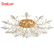Modern LED Crystal Chandelier Ceiling Lamps G4 Gold Black Luxury Lustre Luminaire For Living Room AC110V 220V lighting Fixture hghomeart modern led ceiling lamps round crystal lustre luminaire livingroom colorful night ceiling fixture light 110v 240v
