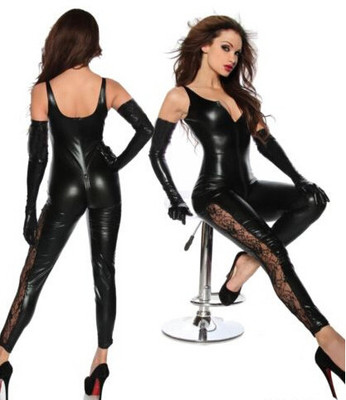 Sexy Wet Look PVC Deep V Jumpsuit Spaghetti Strap Lace Catsuit Clubwear Night Club Erotic Fetish Faux Leather Cat Women