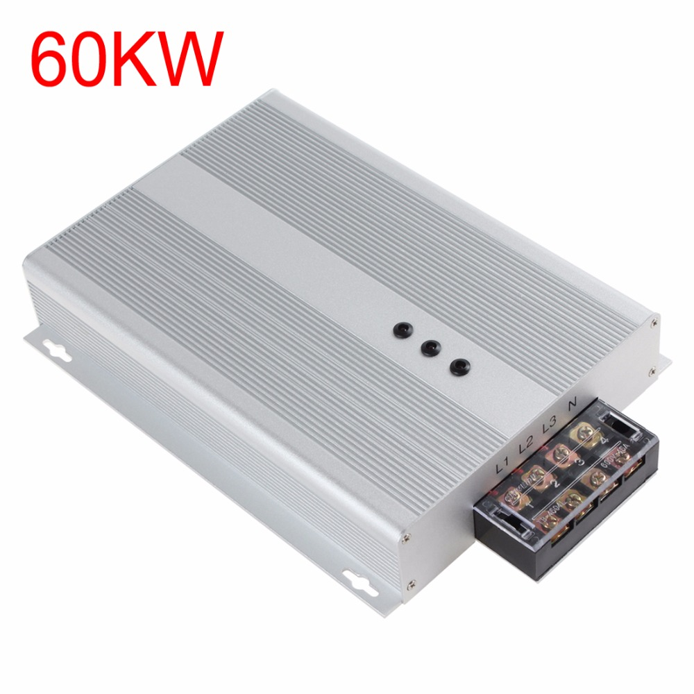 цена на Silver 60KW 90-400V AC Intelliworks Electricity Saving Box Three Phase Industrial Power Saver Box for Shop / House / Restaurant