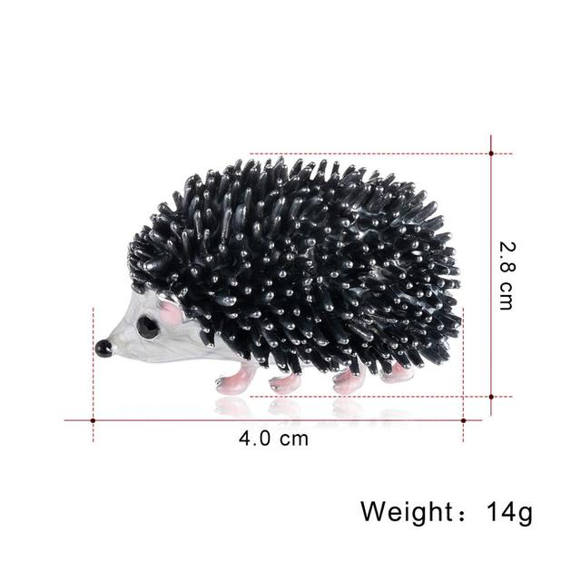 Black Enamel Brooches Porcupine Pin Kids Coat Bag Badges Fashion Jewelry Cute Animal Brooch Unisex Brooches