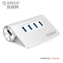 ORICO Алюминий 4 порта USB 2.0 3.0 концентратор высокой Скорость мини Splitter Портативный хаб для портативных ПК компьютер с 1 м кабель для передачи данных