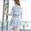 Estrella impreso dress cintura elástica vestidos de verano o-cuello de la ropa de china del envío libre de gran tamaño de las mujeres dress f6841