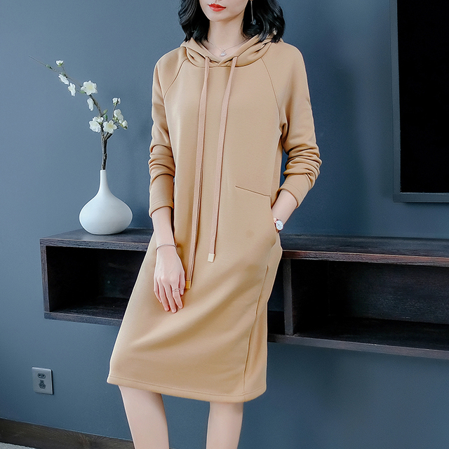 0b1cbb521ef86 Khaki hooded t shirt dress women plus size female elegant midi dresses  medieval pullover pocket clothes