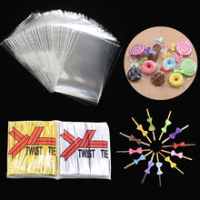 100Pcs Transparent OPP Plastic Lollipop Bag Cookie Packaging Cellophane Candy Wedding Birthday Party Baby Shower Gift Decor