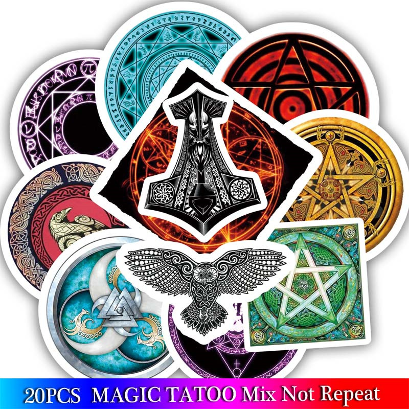 20PCS Thor's Hammer Stickers Pentacle Sticker For Laptop Bicycle Phone Guitar Marvel Stickers Sets