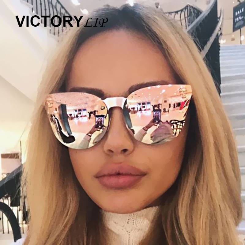VictoryLip Rose Gold Sunglasses Brand Designer Women Skull Mirror Gothic Punk Sun Glasses Mirror Flat Lens Cat Eye Hot Sale