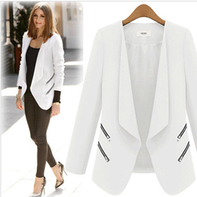 208852032886a New Design Long Sleeve Plus size Spring Autumn Blazer Feminino Chaquetas  Mujer Solid Blue Black White Suit Jacket Women 2015-in Blazers from Women s  ...