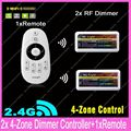 1x 2.4G RF Wireless 4-Zone Touch Remote +2x DC12-24V 12A Mi.light RF Brightness Adjustable Dimmer Controller Set WiFi Compatible