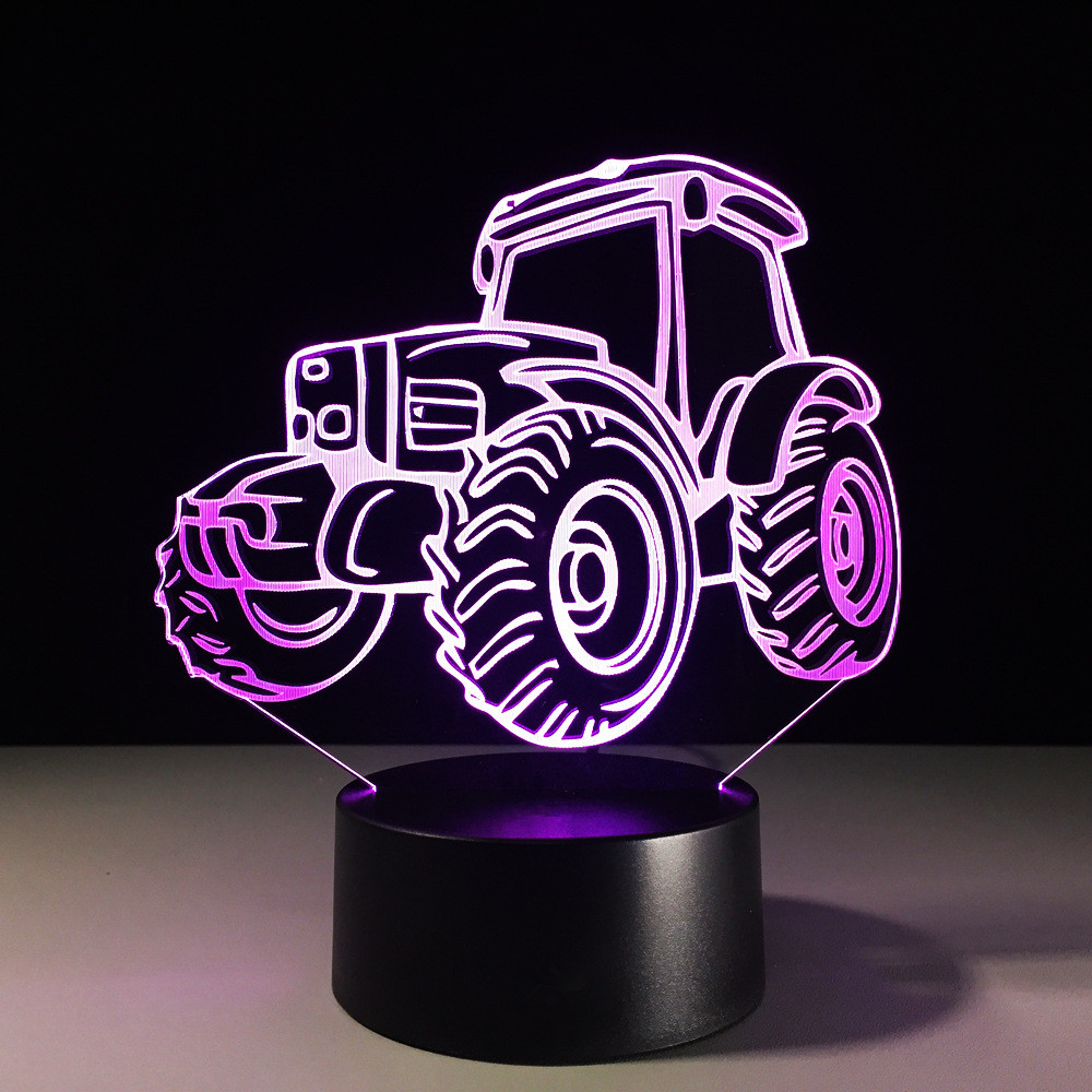 3D Led Table Lamp Motor Automobile Shape Nightlight 7 Colors Visual Bedside Child Gifts USB Home Decor Car Tractor Light Fixture