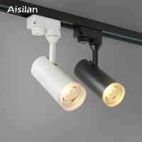 Aisilan LED Track Light 7W COB Rail Spotlights Lamp Leds Rail Track Lighting Fixture Spot Lights AC90 260V Warm white light