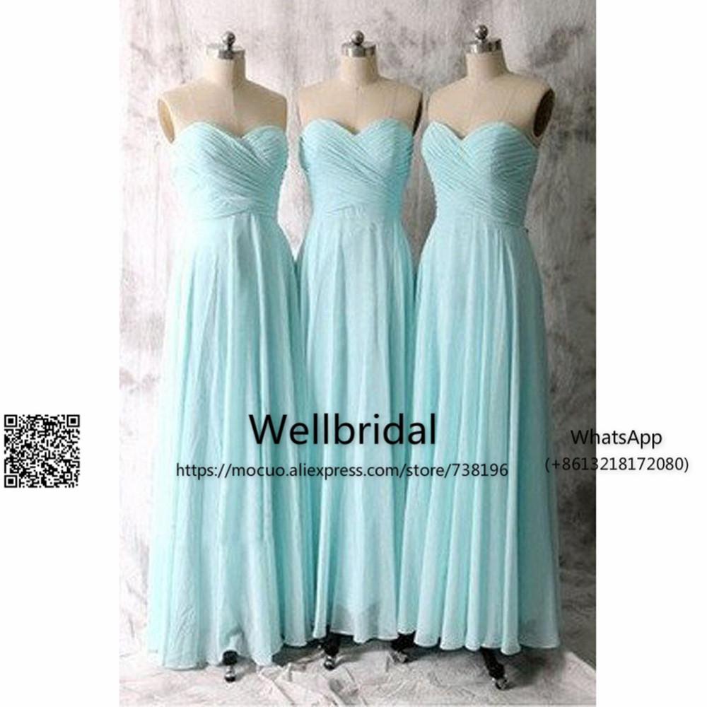 Long Blue Bridesmaid Dresses,Chiffon Bridesmaid Dress,Simple Bridesmaid Dress