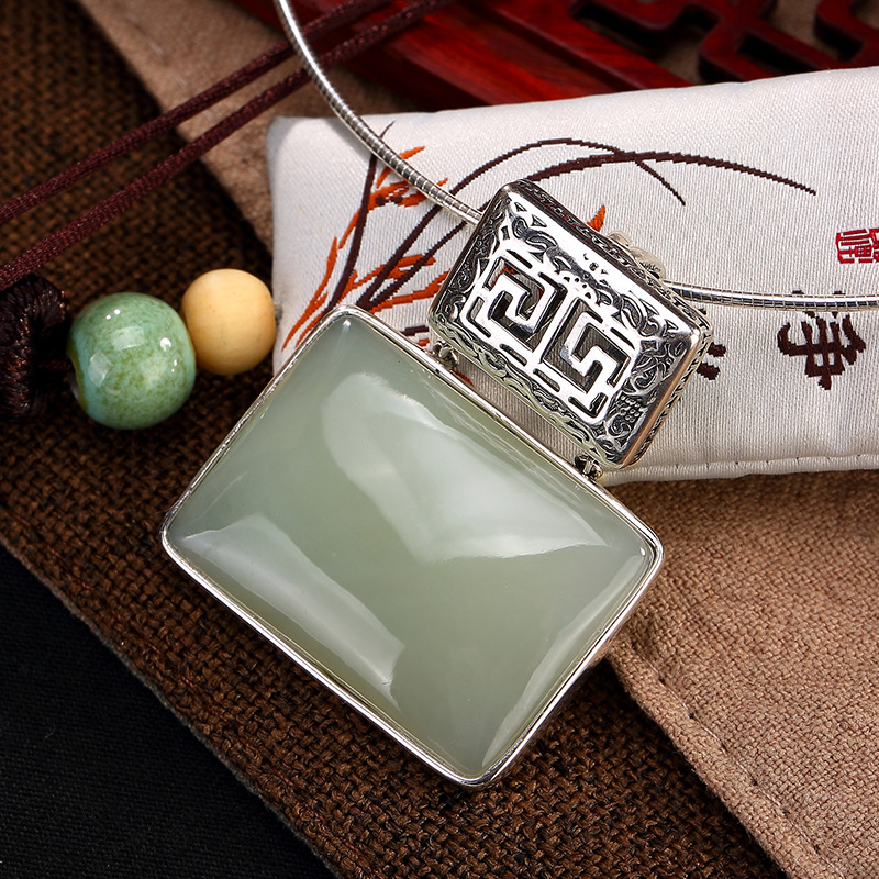 2018 New Arrival Real S925 Sterling And Hetian Jade Inlaid High-end Square Ladys Sweater Chain Pendant Fine Jewels For Gift ...