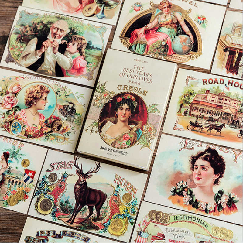 30pcs/pack retro vintage paper postcard business and greeting invitation cards set message marker