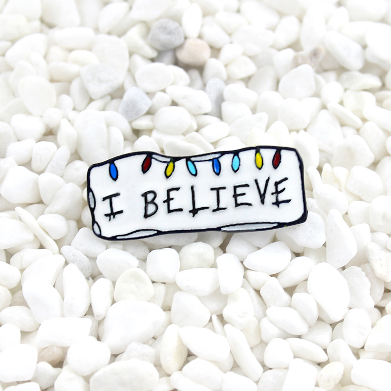 I Believe Christmas Stranger Things enamel lapel pin Iconic Christmas Lights Badge Party personality brooch Christmas cute gift(China)