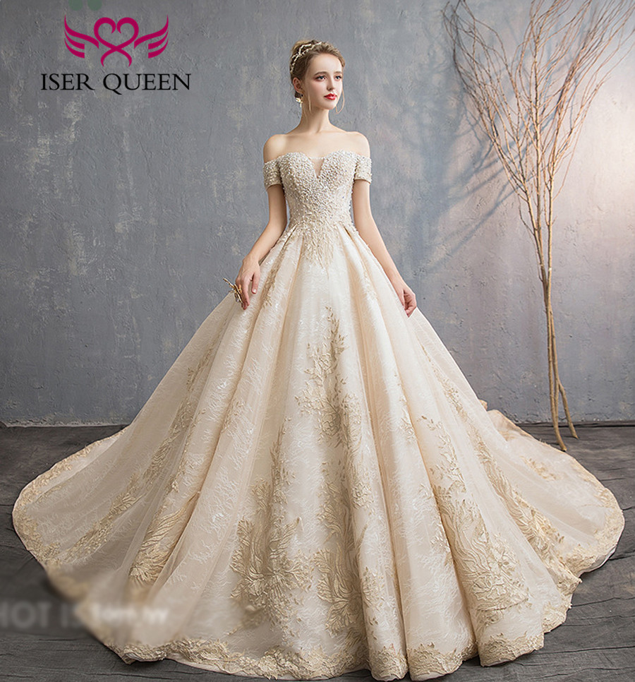 Wedding Gowns In Color: Pearls Beading Europe Fashion Wedding Dress 2019 New Cap