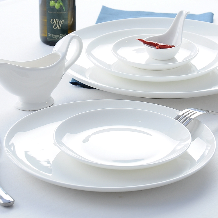 8 Inch Plain White Bone China Vintage Round Deep Plates