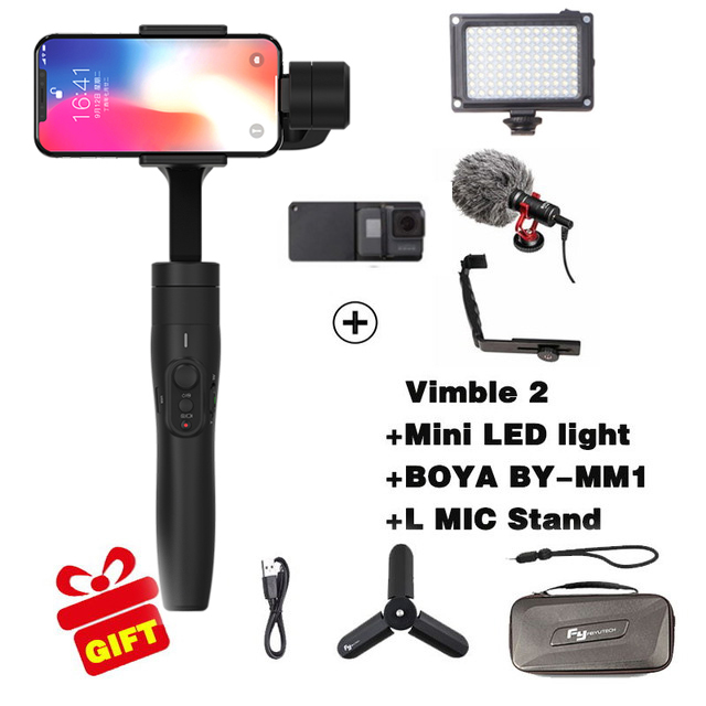 Feiyutech Vimble 2 3-Axis Handheld Smartphone Gimbal Stabilizer for xiaomi samsung iphone gopro hero yi 4k sjcam action cameras ulanzi zhiyun smooth q handheld 3 axis smartphone gimbal video stabilizer for iphone 7 samsung gopro hero 5 4 sjcam yi cameras