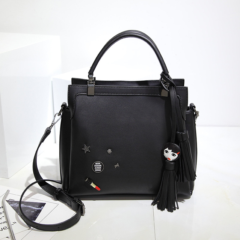 New Arrival Knitting Women Black Square Handbag Fashion Tassel Lipstick Shoulder Bag Small Casual Cross Body Purse Bag Totes