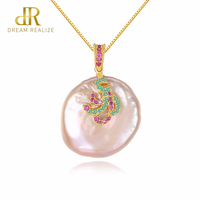 DR White/Pink Color Large Size Tissue Nucleated Flameball Shape Natural baroque Pearl Pendant 925 Sterling Silver Necklace