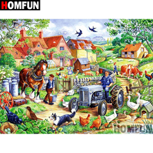 HOMFUN 5D DIY Diamond Painting Full Square/Round Drill Tractor poultry Embroidery Cross Stitch gift Home Decor Gift A09296 homfun 5d diy diamond painting full square round drill tractor scenery embroidery cross stitch gift home decor gift a09181