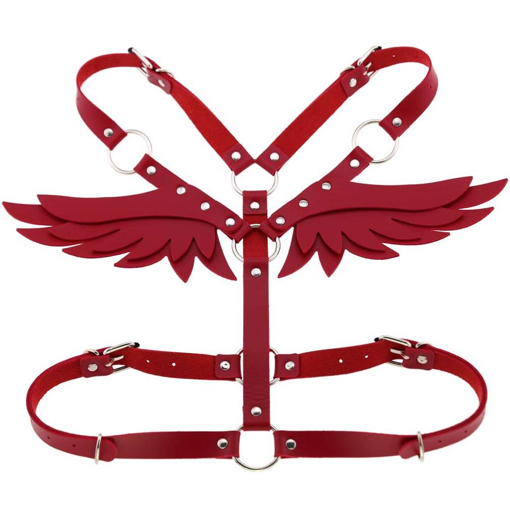 Wings Leather harness Goth Punk body chain women strap summer festival girls lingerie cage harness rave babe jewelry 4