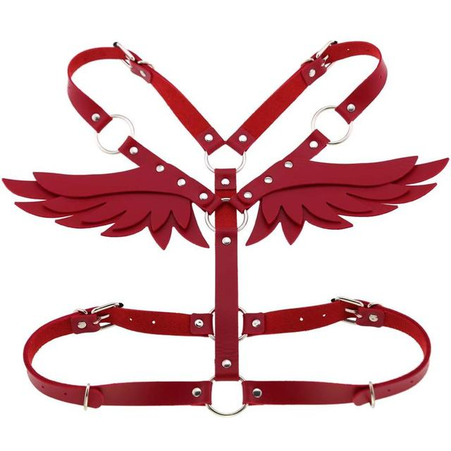 Goth Punk Wings Leather harness  1